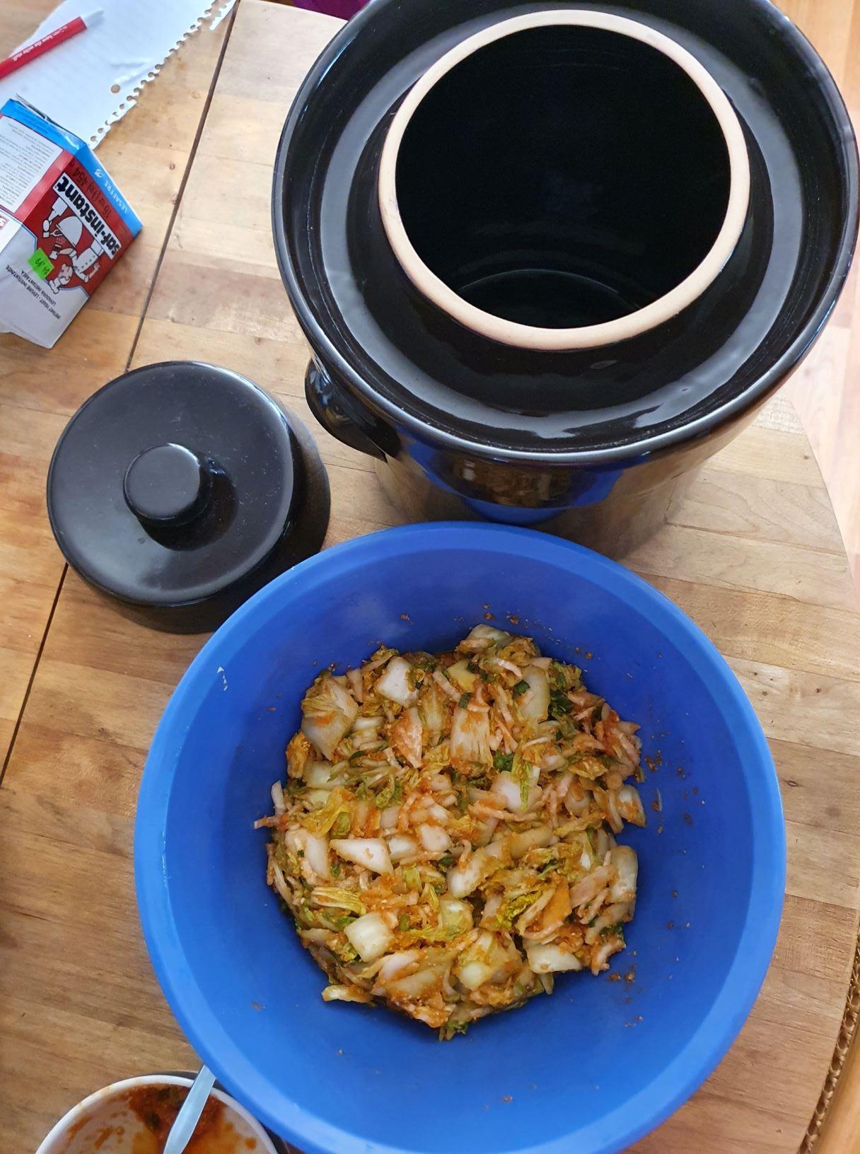 Kimchi and 5 liter clay fermentation crock
