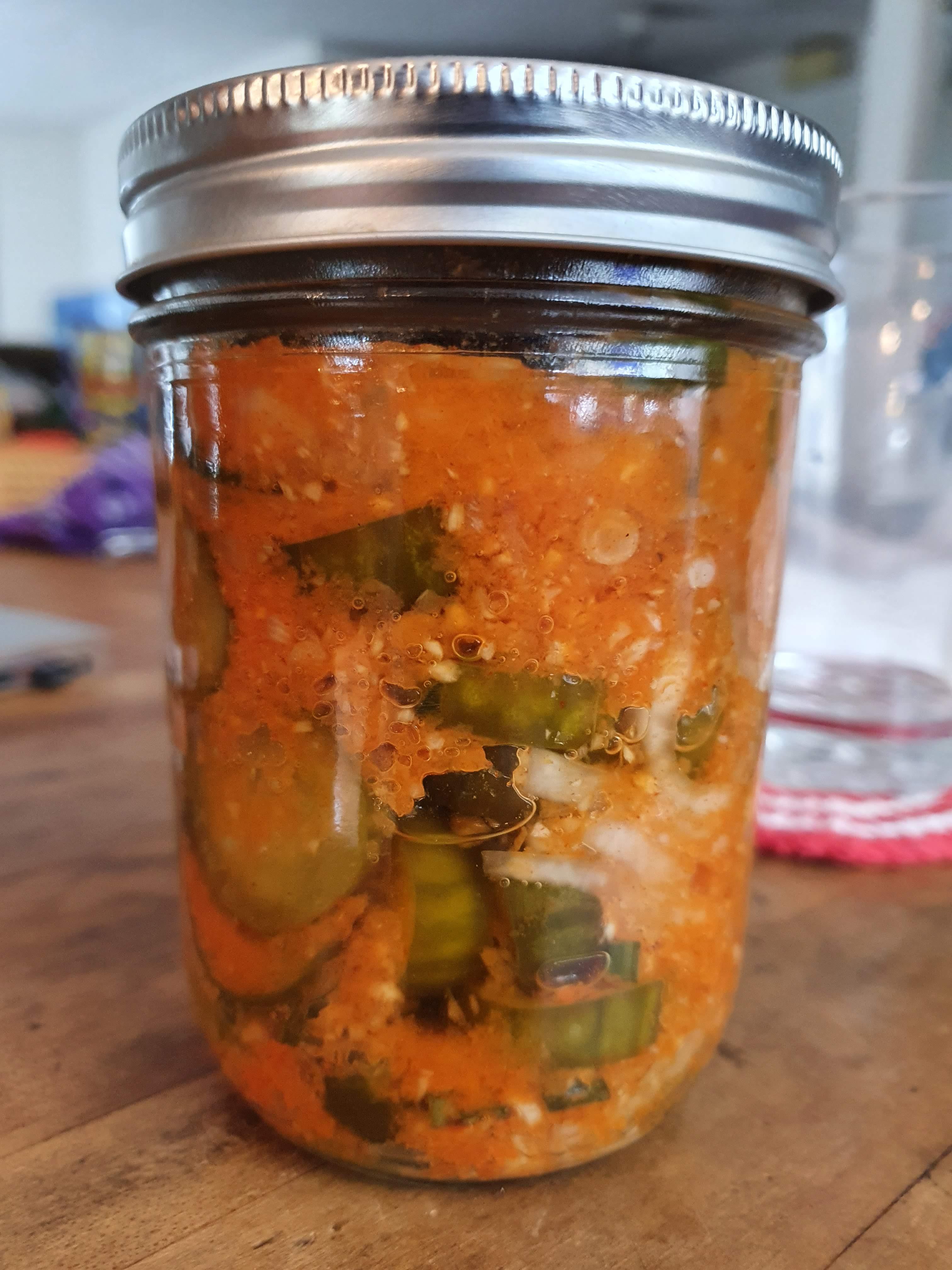 Vegan homemade cucumber kimchi