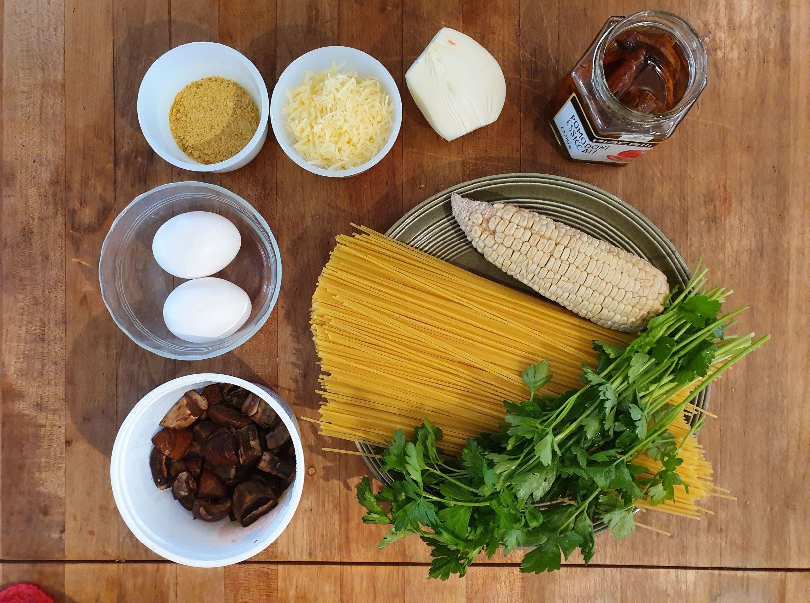 Vegetarian Veggie Carbonara wiht Mushroom and Corn Ingredients